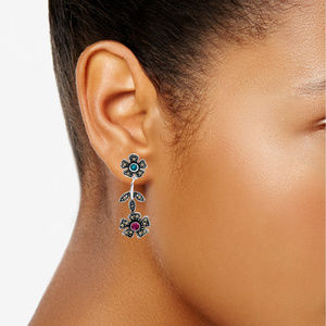 Crystal & Marcasite Flower Drop Earrings